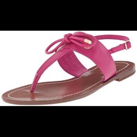 107c96ff81a1 Kate Spade Carolina Flat Pink Bow Leather Sandals